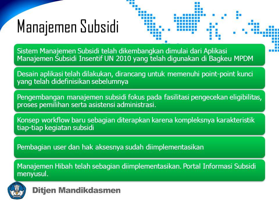 Manajemen Subsidi Sistem Manajemen Subsidi telah dikembangkan dimulai dari Aplikasi Manajemen Subsidi Insentif UN 2010 yang telah digunakan di Bagkeu