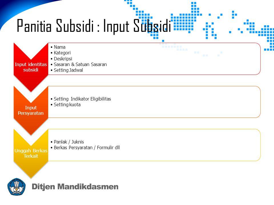 Input identitas subsidi •Nama •Kategori •Deskripsi •Sasaran & Satuan Sasaran •Setting Jadwal Input Persyaratan •Setting Indikator Eligibilitas •Settin