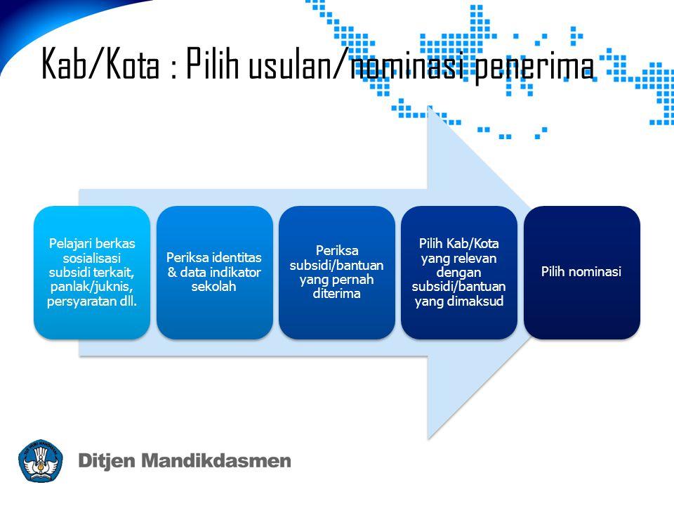 Kab/Kota : Pilih usulan/nominasi penerima Pelajari berkas sosialisasi subsidi terkait, panlak/juknis, persyaratan dll.