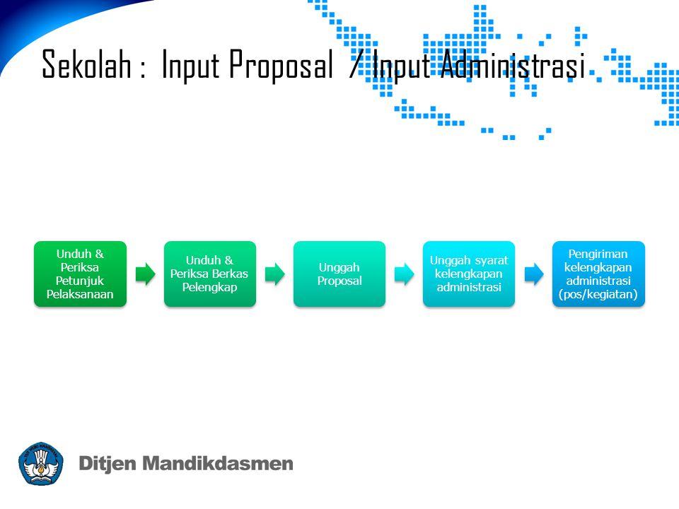 Sekolah : Input Proposal / Input Administrasi Unduh & Periksa Petunjuk Pelaksanaan Unduh & Periksa Berkas Pelengkap Unggah Proposal Unggah syarat kele