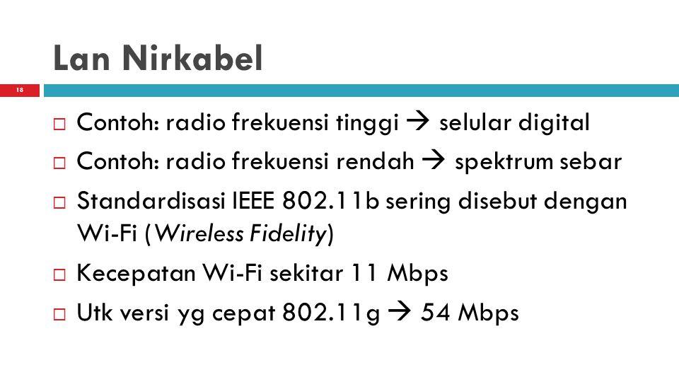 18 Lan Nirkabel  Contoh: radio frekuensi tinggi  selular digital  Contoh: radio frekuensi rendah  spektrum sebar  Standardisasi IEEE 802.11b sering disebut dengan Wi-Fi (Wireless Fidelity)  Kecepatan Wi-Fi sekitar 11 Mbps  Utk versi yg cepat 802.11g  54 Mbps