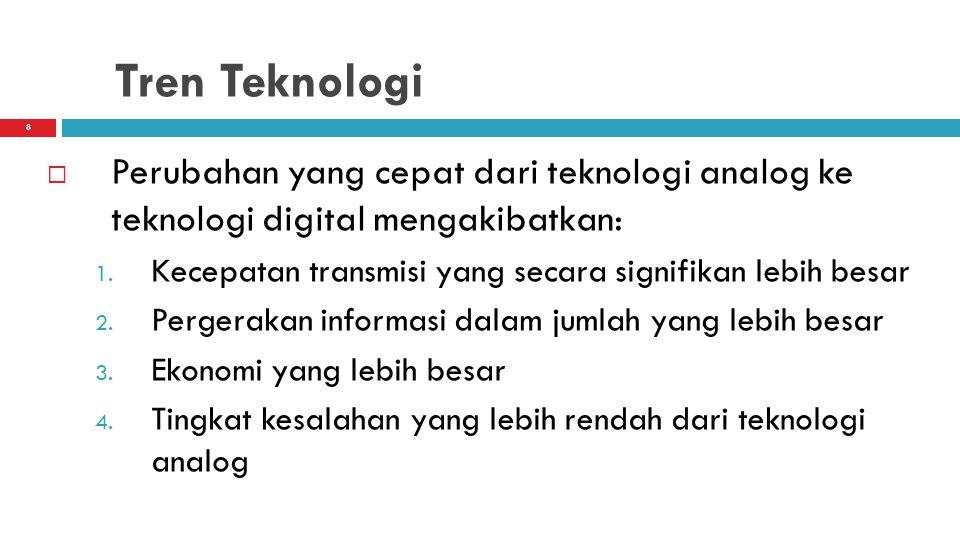 9 Tren Teknologi  Perubahan dari ketergantungan pada media berbasis kawat tembaga dan sistem penerimaan gelombang pendek berbasis tanah ke jalur serat- optik dan selular, PCS, satelit komunikasi, dan teknologi nirkabel lainnya
