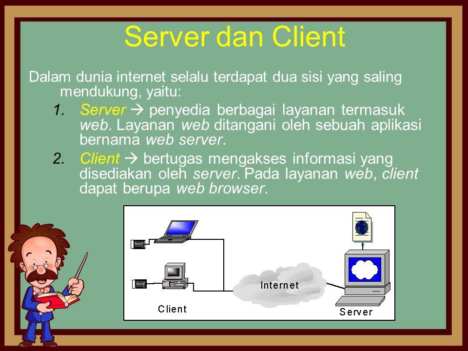 Server dan Client Dalam dunia internet selalu terdapat dua sisi yang saling mendukung, yaitu: 1.Server  penyedia berbagai layanan termasuk web. Layan