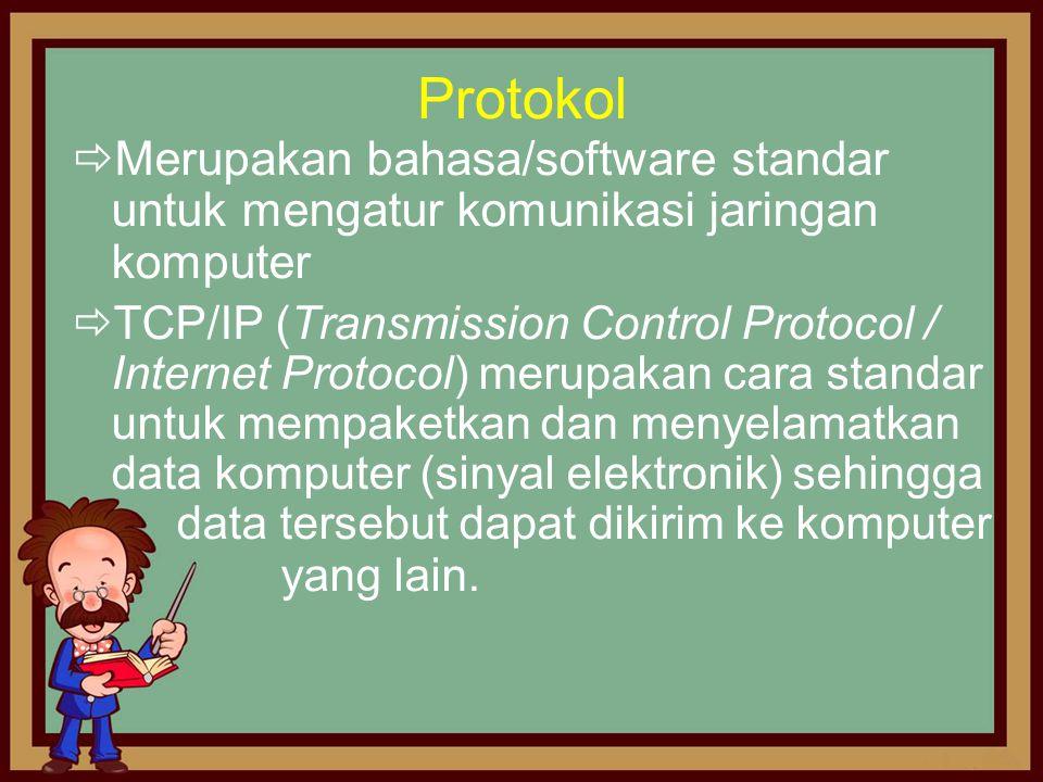 Protokol  Merupakan bahasa/software standar untuk mengatur komunikasi jaringan komputer  TCP/IP (Transmission Control Protocol / Internet Protocol)