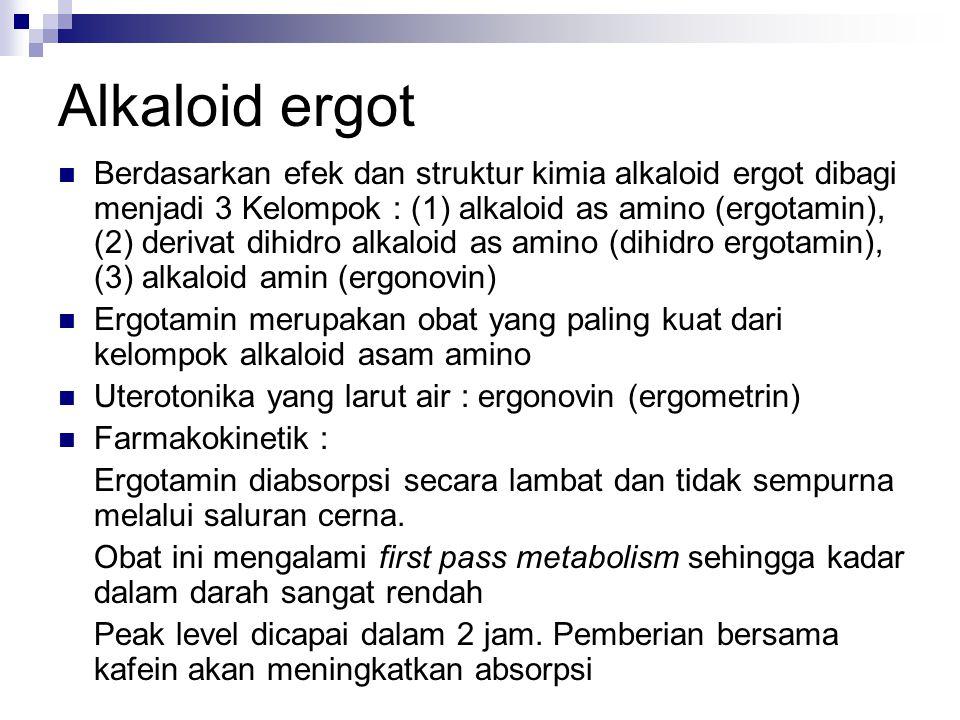 Alkaloid ergot  Berdasarkan efek dan struktur kimia alkaloid ergot dibagi menjadi 3 Kelompok : (1) alkaloid as amino (ergotamin), (2) derivat dihidro