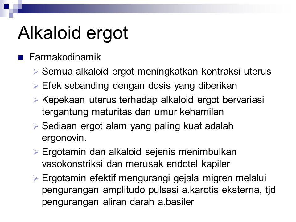 Alkaloid ergot  Farmakodinamik  Semua alkaloid ergot meningkatkan kontraksi uterus  Efek sebanding dengan dosis yang diberikan  Kepekaan uterus te