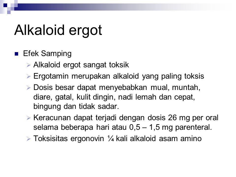 Alkaloid ergot  Efek Samping  Alkaloid ergot sangat toksik  Ergotamin merupakan alkaloid yang paling toksis  Dosis besar dapat menyebabkan mual, m