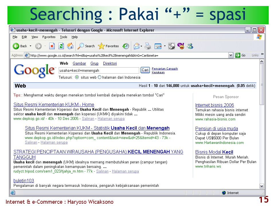"Internet & e-Commerce : Haryoso Wicaksono 15 Searching : Pakai ""+"" = spasi"