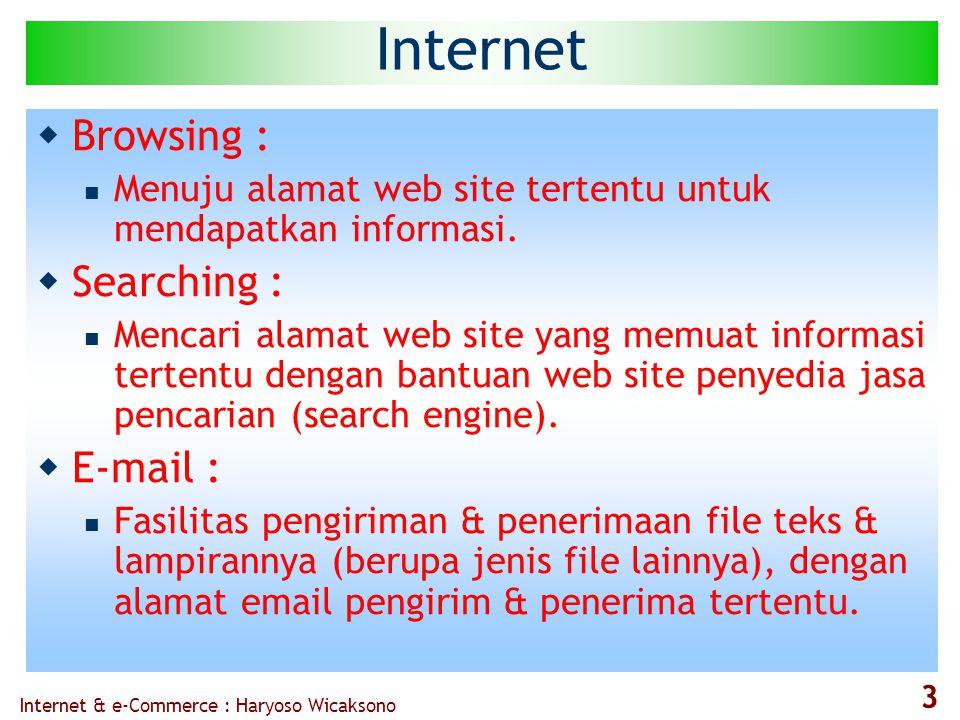 Internet & e-Commerce : Haryoso Wicaksono 3 Internet  Browsing :  Menuju alamat web site tertentu untuk mendapatkan informasi.