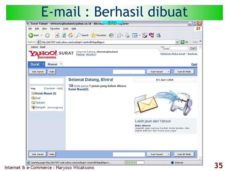 Internet & e-Commerce : Haryoso Wicaksono 35 E-mail : Berhasil dibuat