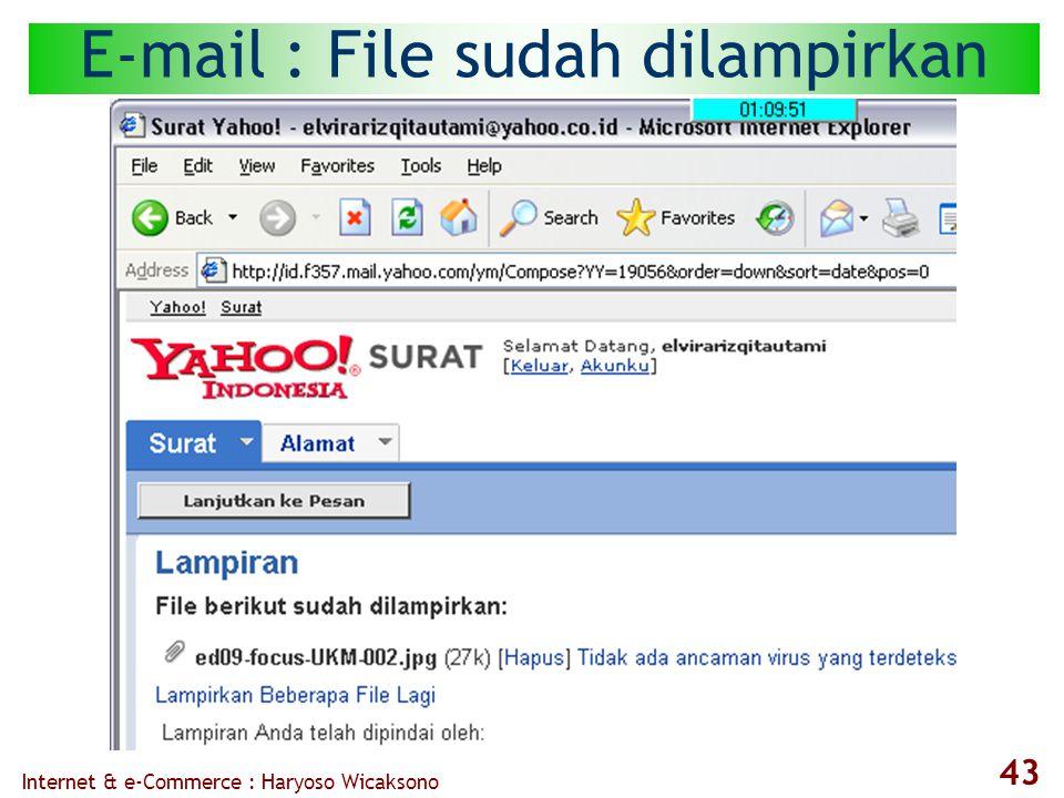 Internet & e-Commerce : Haryoso Wicaksono 43 E-mail : File sudah dilampirkan