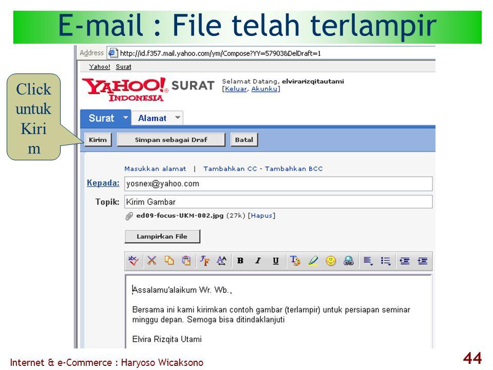 Internet & e-Commerce : Haryoso Wicaksono 44 E-mail : File telah terlampir Click untuk Kiri m