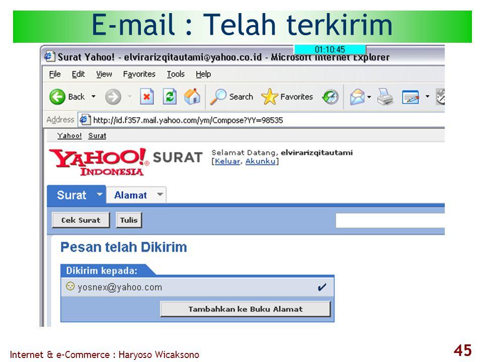 Internet & e-Commerce : Haryoso Wicaksono 45 E-mail : Telah terkirim