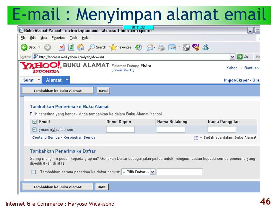 Internet & e-Commerce : Haryoso Wicaksono 46 E-mail : Menyimpan alamat email