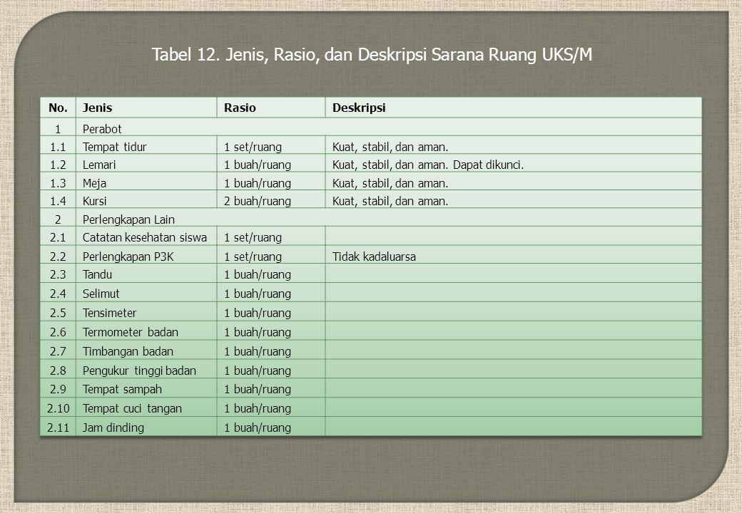 Tabel 12. Jenis, Rasio, dan Deskripsi Sarana Ruang UKS/M