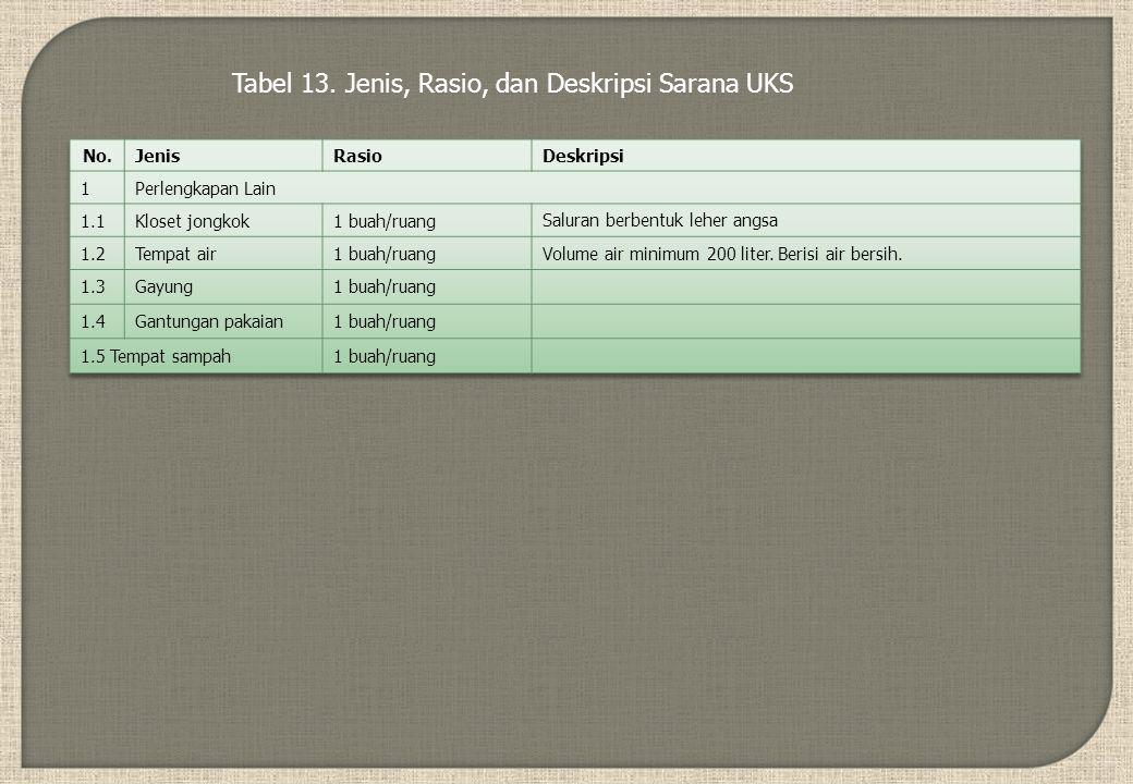 Tabel 13. Jenis, Rasio, dan Deskripsi Sarana UKS