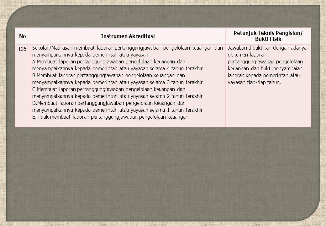 NoInstrumen Akreditasi Petunjuk Teknis Pengisian/ Bukti Fisik 135 Sekolah/Madrasah membuat laporan pertanggungjawaban pengelolaan keuangan dan menyampaikannya kepada pemerintah atau yayasan.