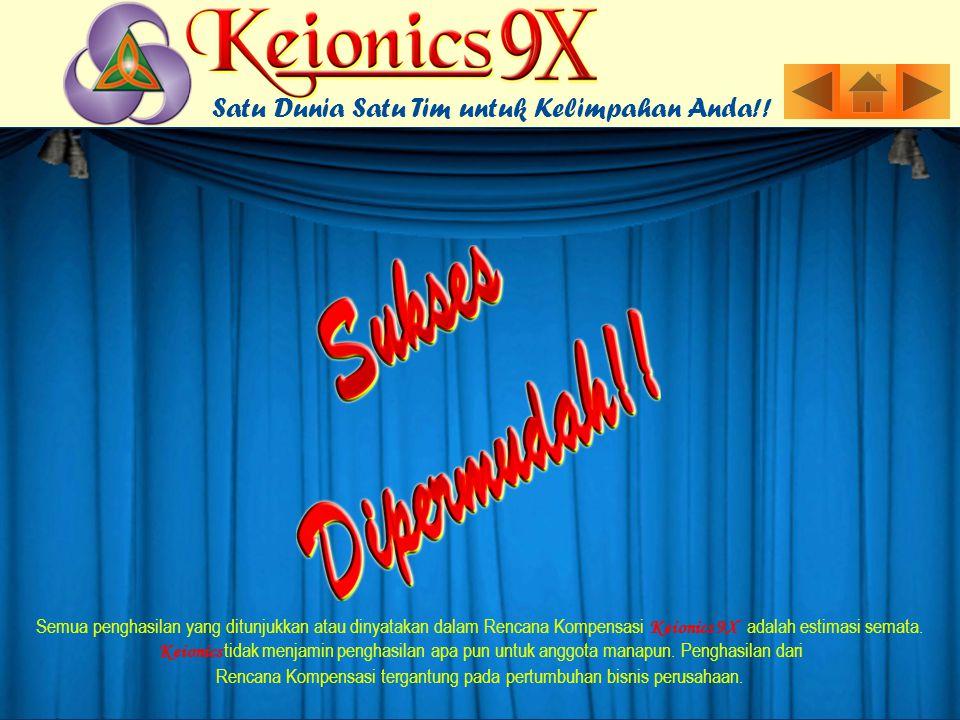 Semua penghasilan yang ditunjukkan atau dinyatakan dalam Rencana Kompensasi Keionics 9X adalah estimasi semata.