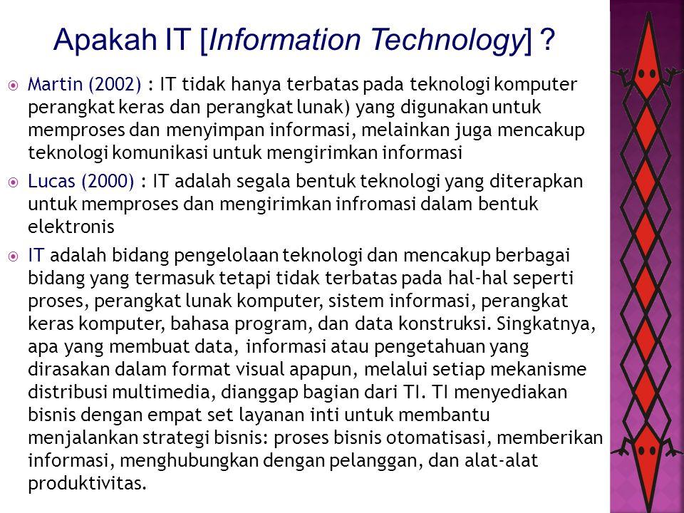 Apakah IT [Information Technology] ?  Martin (2002) : IT tidak hanya terbatas pada teknologi komputer perangkat keras dan perangkat lunak) yang digun