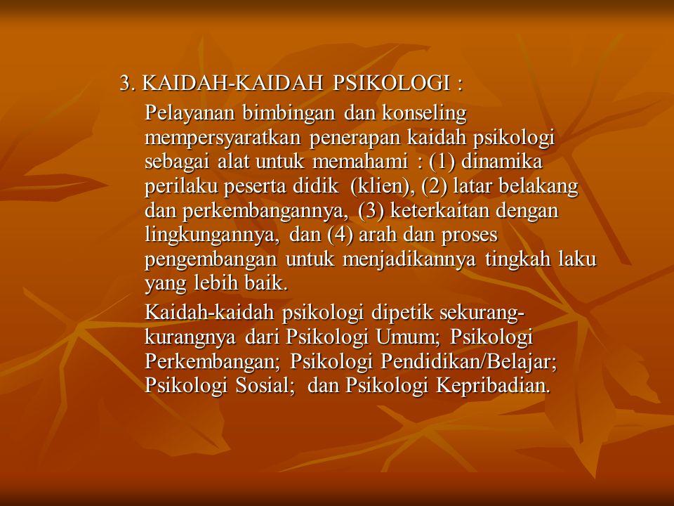 3. KAIDAH-KAIDAH PSIKOLOGI : Pelayanan bimbingan dan konseling mempersyaratkan penerapan kaidah psikologi sebagai alat untuk memahami : (1) dinamika p