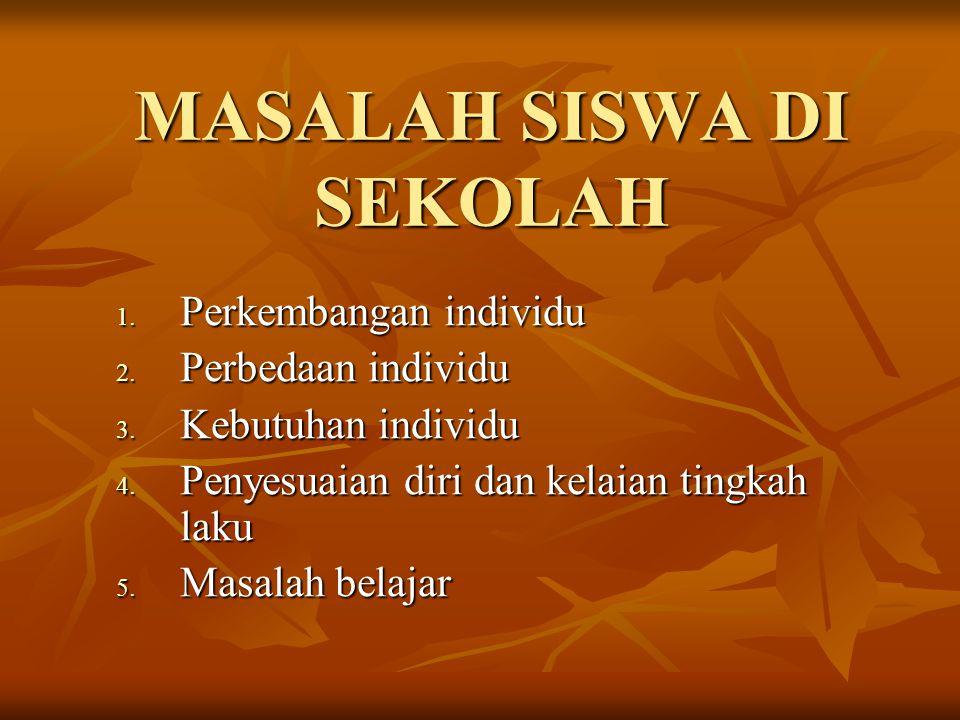 MASALAH SISWA DI SEKOLAH 1.Perkembangan individu 2.