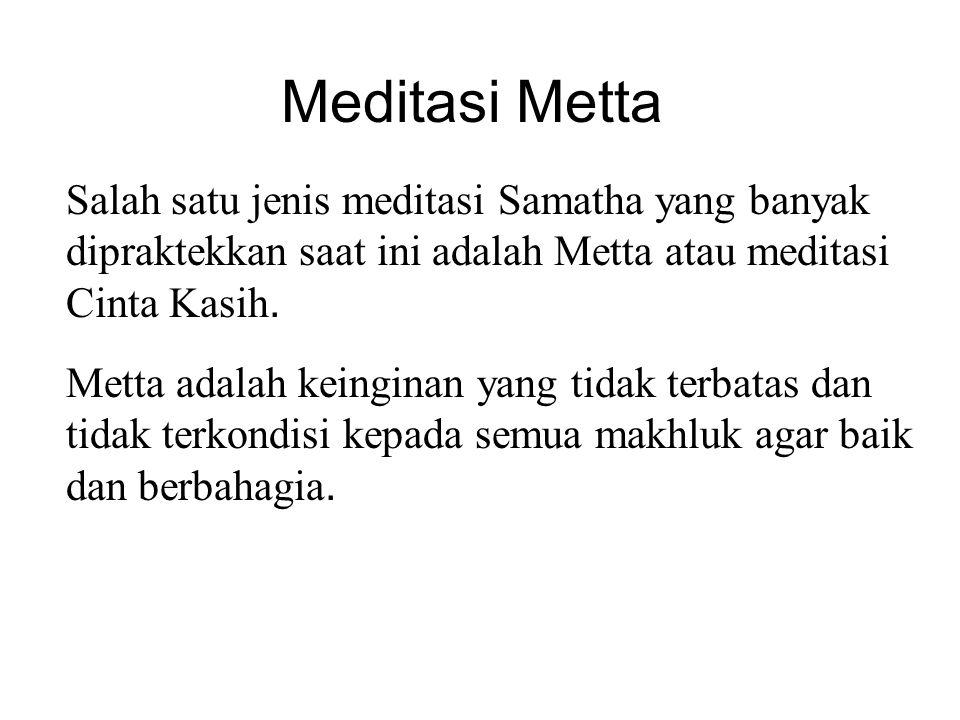 Meditasi Metta Salah satu jenis meditasi Samatha yang banyak dipraktekkan saat ini adalah Metta atau meditasi Cinta Kasih. Metta adalah keinginan yang