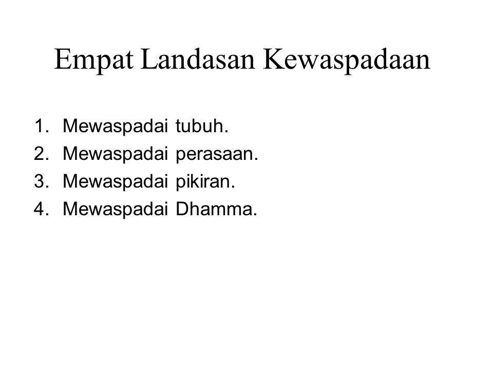 Empat Landasan Kewaspadaan 1.Mewaspadai tubuh. 2.Mewaspadai perasaan. 3.Mewaspadai pikiran. 4.Mewaspadai Dhamma. To be practiced in the Four Postures