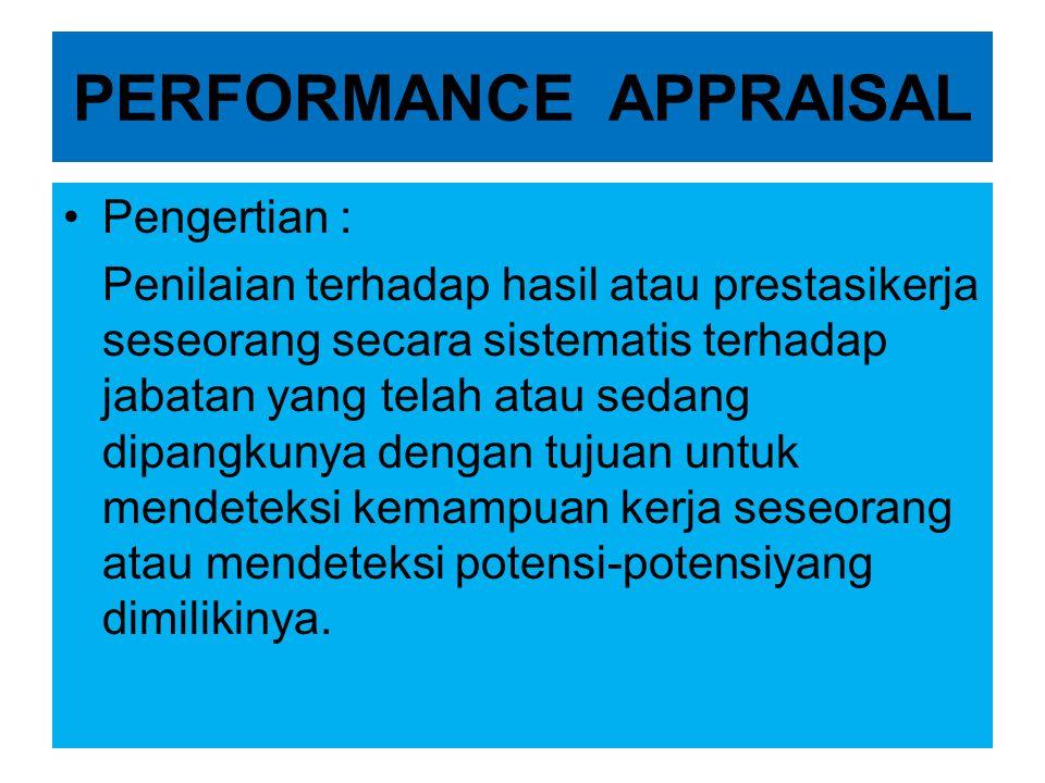 PERFORMANCE APPRAISAL •Pengertian : Penilaian terhadap hasil atau prestasikerja seseorang secara sistematis terhadap jabatan yang telah atau sedang di