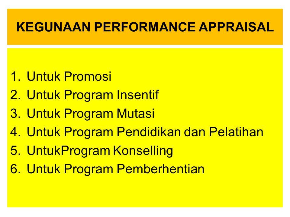 KEGUNAAN PERFORMANCE APPRAISAL 1.Untuk Promosi 2.Untuk Program Insentif 3.Untuk Program Mutasi 4.Untuk Program Pendidikan dan Pelatihan 5.UntukProgram