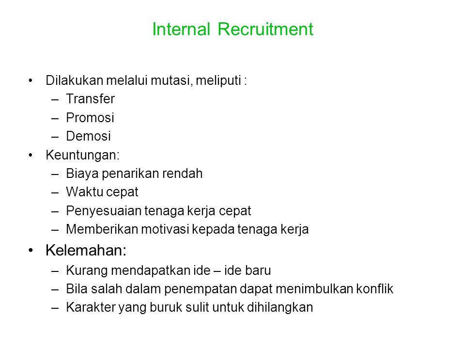 Internal Recruitment •Dilakukan melalui mutasi, meliputi : –Transfer –Promosi –Demosi •Keuntungan: –Biaya penarikan rendah –Waktu cepat –Penyesuaian t