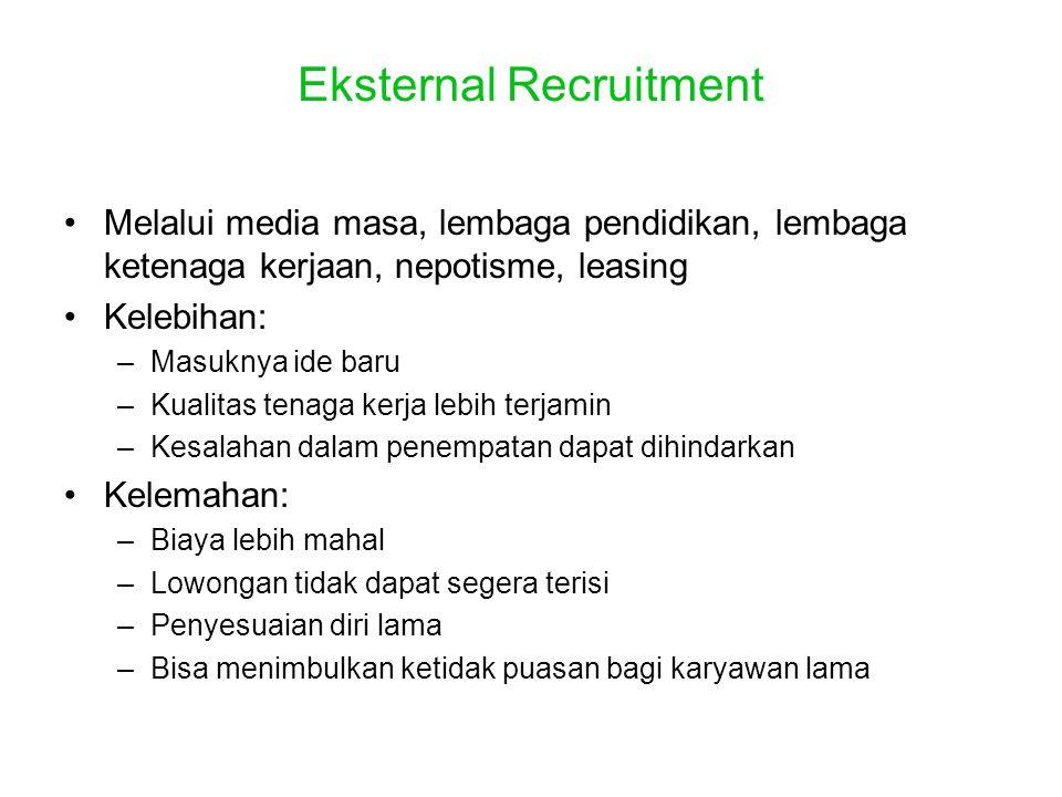 Eksternal Recruitment •Melalui media masa, lembaga pendidikan, lembaga ketenaga kerjaan, nepotisme, leasing •Kelebihan: –Masuknya ide baru –Kualitas t