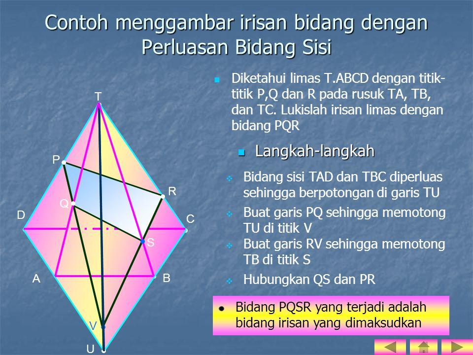 Contoh menggambar irisan bidang dengan Perluasan Bidang Sisi   Diketahui limas T.ABCD dengan titik- titik P,Q dan R pada rusuk TA, TB, dan TC.