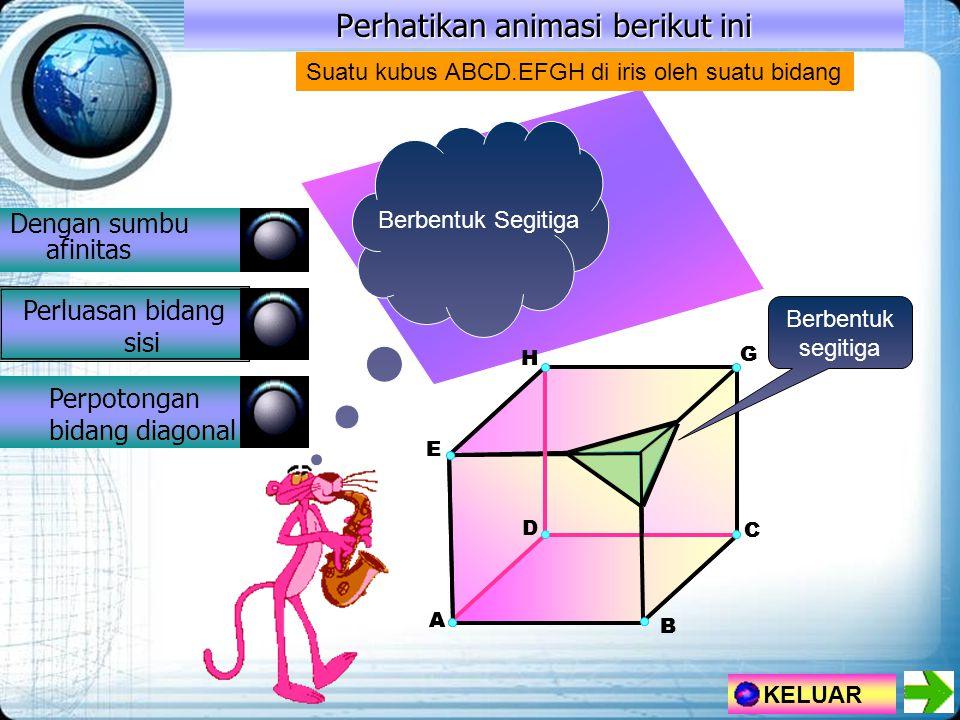 Perhatikan animasi berikut ini Dengan sumbu afinitas Perluasan bidang sisi Perpotongan bidang diagonal KELUAR H A E G F D B C H A E G D B C Suatu kubus ABCD.EFGH di iris oleh suatu bidang Berbentuk segitiga Berbentuk Segitiga