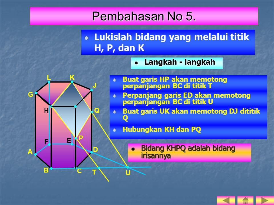   Lukislah bidang yang melalui titik H, P, dan K I H F E J A B C D G LK P Q Pembahasan No 5.