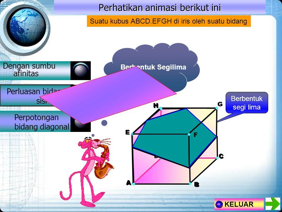 H A E G D Perhatikan animasi berikut ini Dengan sumbu afinitas Perluasan bidang sisi Perpotongan bidang diagonal KELUAR B C Berbentuk segi lima Suatu kubus ABCD.EFGH di iris oleh suatu bidang Berbentuk Segilima F H A D B C E G F