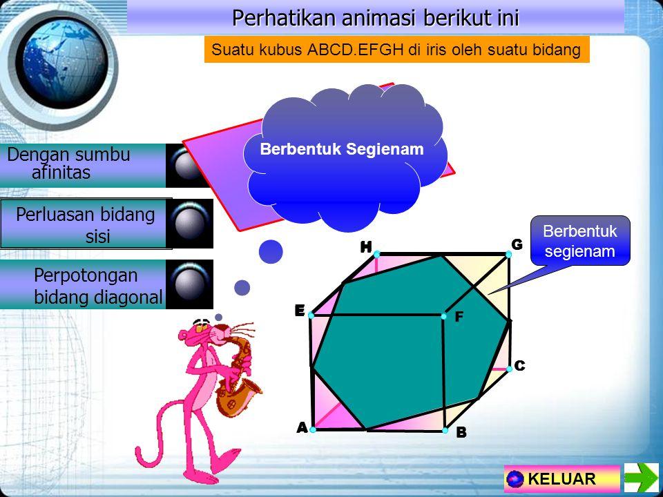 Perhatikan animasi berikut ini Dengan sumbu afinitas Perluasan bidang sisi Perpotongan bidang diagonal KELUAR H A E G D B C F Suatu kubus ABCD.EFGH di iris oleh suatu bidang H A E D C Berbentuk Segienam H E G D B F Berbentuk segienam