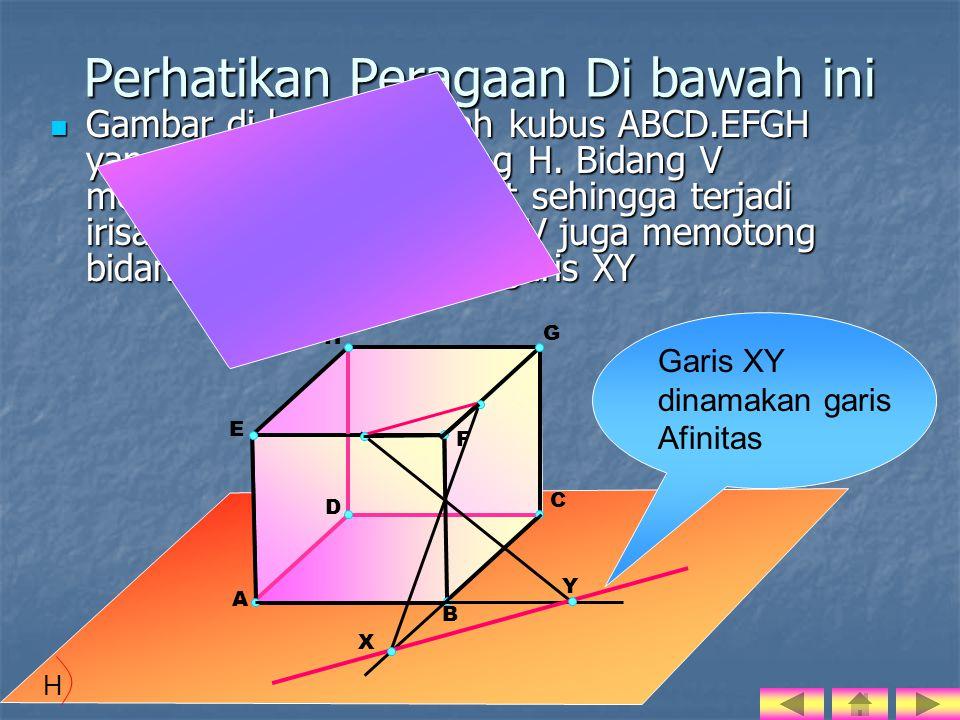 Pengertian sumbu afinitas : Sumbu afinitas atau Garis Dasar atau Garis Kaliniasi adalah garis persekutuan antara bidang datar dengan bidang alas bangun ruang