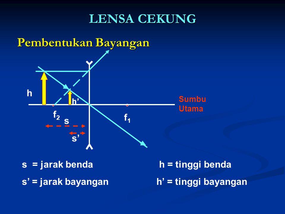 LENSA CEKUNG Pembentukan Bayangan f2f2 f1f1 Sumbu Utama s s' h h' s = jarak benda h = tinggi benda s' = jarak bayangan h' = tinggi bayangan