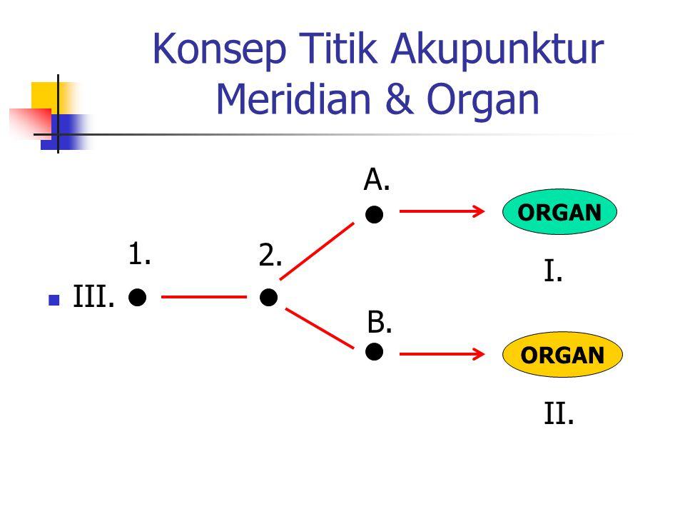 Konsep Titik Akupunktur Meridian & Organ  III. ORGAN I. II. 1. 2. A. B.