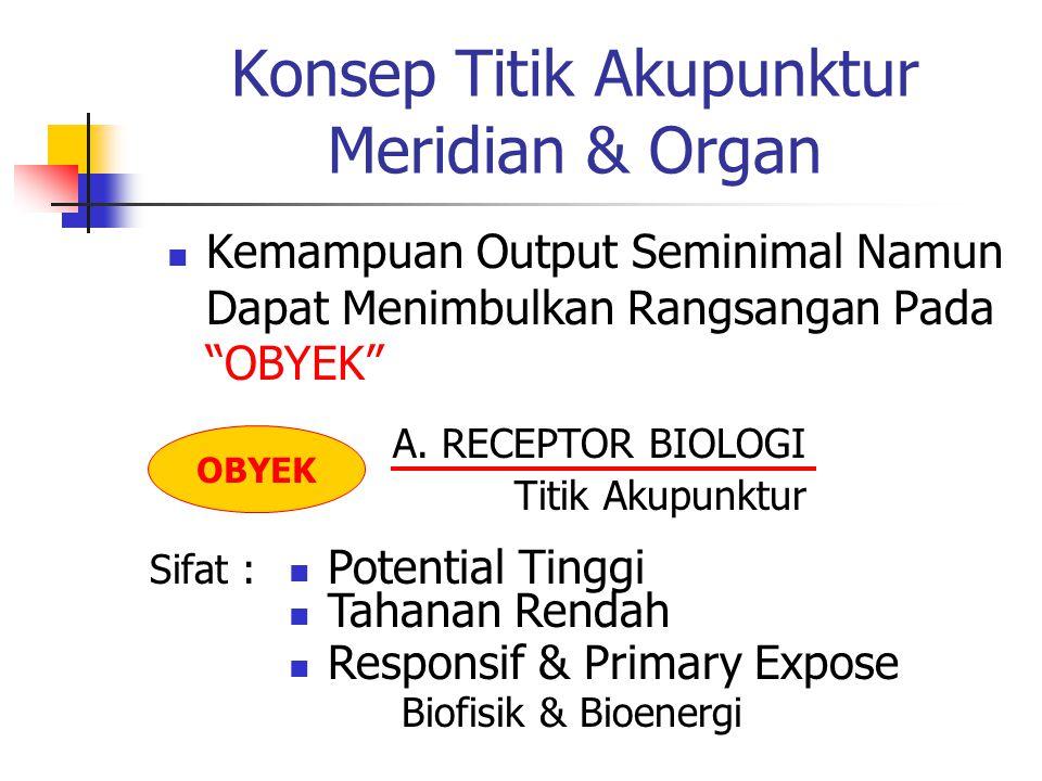 Konsep Titik Akupunktur Meridian & Organ  Kemampuan Output Seminimal Namun Dapat Menimbulkan Rangsangan Pada OBYEK OBYEK A.