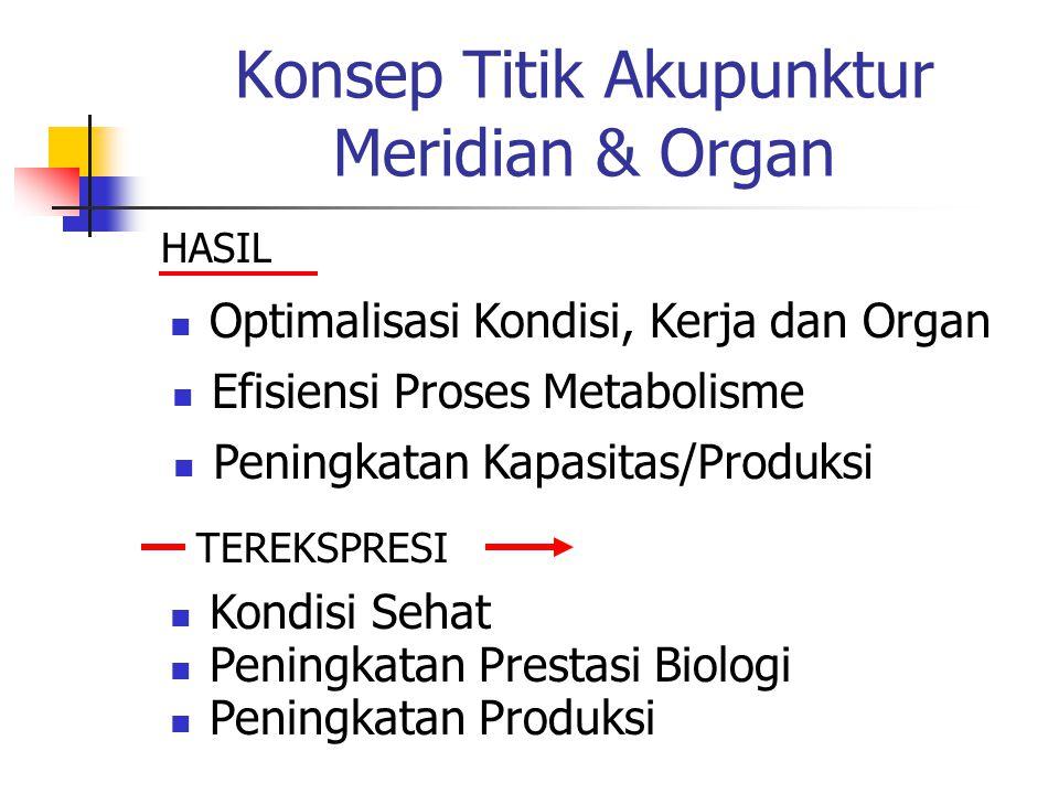Konsep Titik Akupunktur Meridian & Organ HASIL  Optimalisasi Kondisi, Kerja dan Organ  Efisiensi Proses Metabolisme  Peningkatan Kapasitas/Produksi TEREKSPRESI  Kondisi Sehat  Peningkatan Prestasi Biologi  Peningkatan Produksi