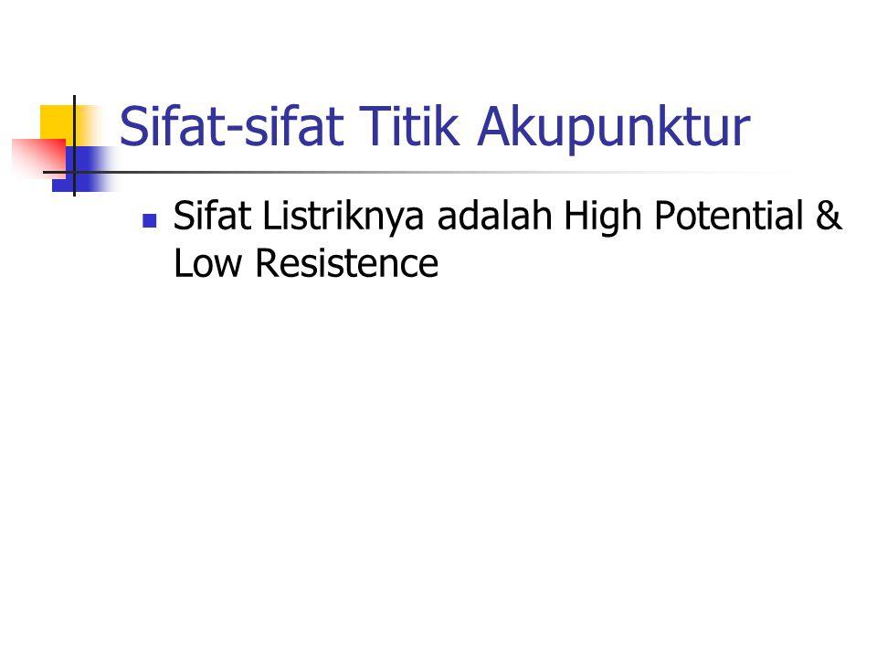 Sifat-sifat Titik Akupunktur  Sifat Listriknya adalah High Potential & Low Resistence