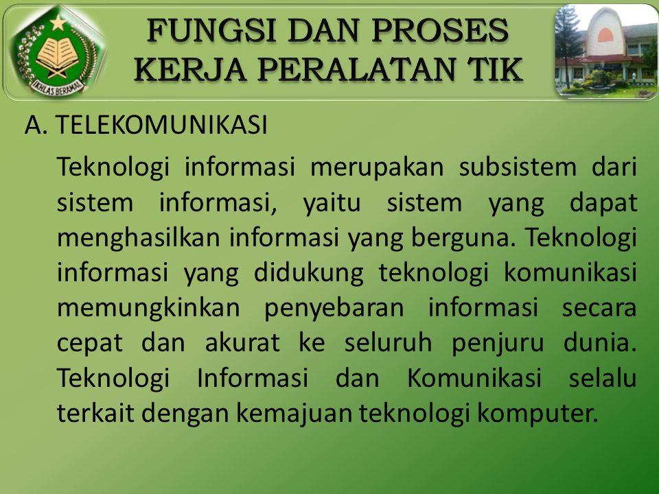 A. TELEKOMUNIKASI Teknologi informasi merupakan subsistem dari sistem informasi, yaitu sistem yang dapat menghasilkan informasi yang berguna. Teknolog