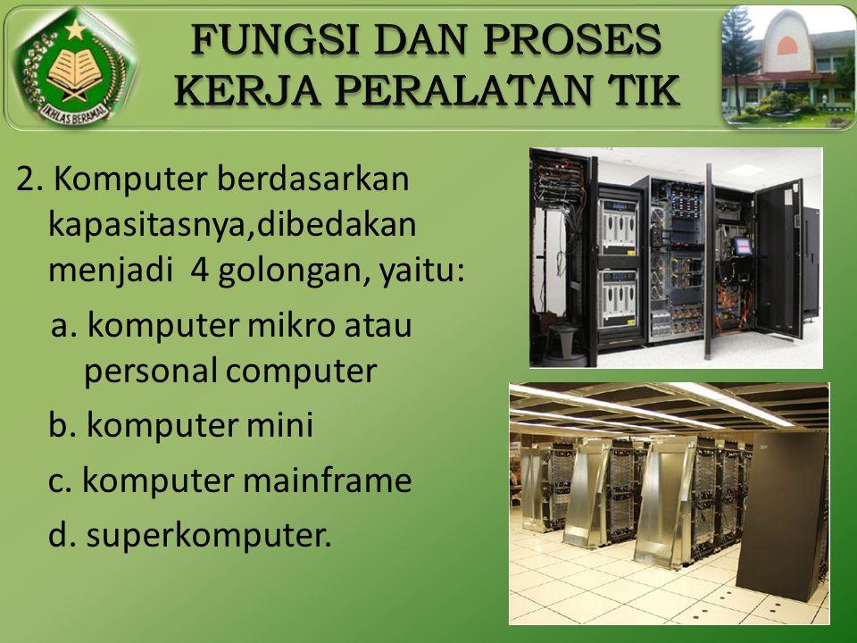 2. Komputer berdasarkan kapasitasnya,dibedakan menjadi 4 golongan, yaitu: a. komputer mikro atau personal computer b. komputer mini c. komputer mainfr