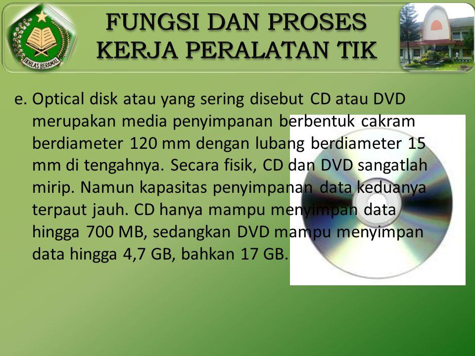 e. Optical disk atau yang sering disebut CD atau DVD merupakan media penyimpanan berbentuk cakram berdiameter 120 mm dengan lubang berdiameter 15 mm d