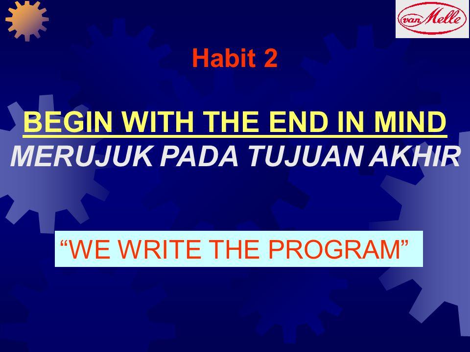 "Habit 2 BEGIN WITH THE END IN MIND MERUJUK PADA TUJUAN AKHIR ""WE WRITE THE PROGRAM"""
