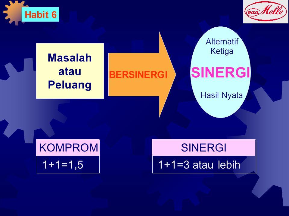 Habit 6 Masalah atau Peluang BERSINERGI SINERGI Alternatif Ketiga Hasil-Nyata KOMPROMI 1+1=1,5 SINERGI 1+1=3 atau lebih