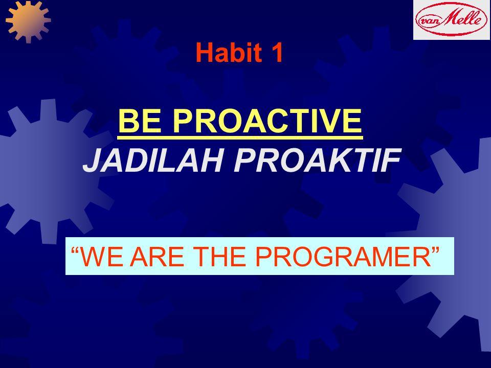 "Habit 1 BE PROACTIVE JADILAH PROAKTIF ""WE ARE THE PROGRAMER"""