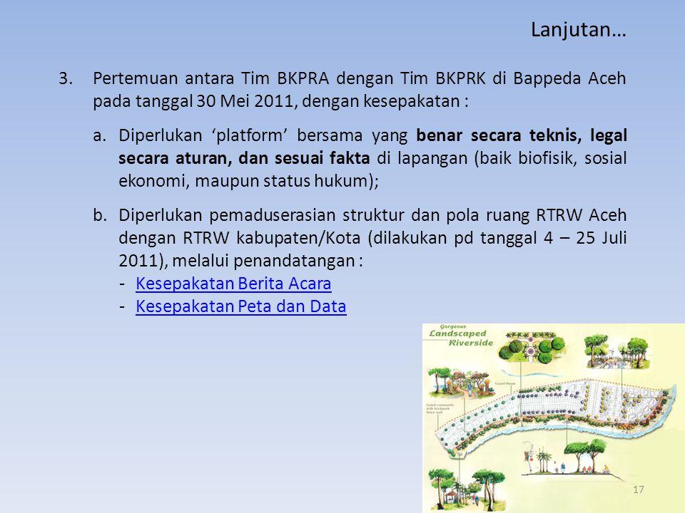 3.Pertemuan antara Tim BKPRA dengan Tim BKPRK di Bappeda Aceh pada tanggal 30 Mei 2011, dengan kesepakatan : a.Diperlukan 'platform' bersama yang bena