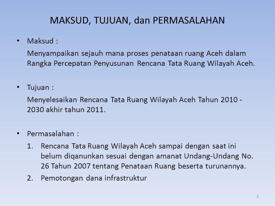 MAKSUD, TUJUAN, dan PERMASALAHAN • Maksud : Menyampaikan sejauh mana proses penataan ruang Aceh dalam Rangka Percepatan Penyusunan Rencana Tata Ruang
